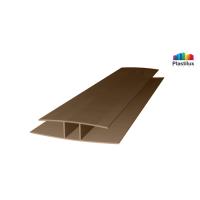 Поликарбонатный профиль ROYALPLAST HP соединительный бронза-серая 6мм 6000мм