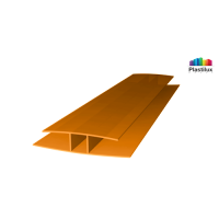 Поликарбонатный профиль ROYALPLAST HP соединительный оранжевый 4мм 6000мм