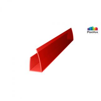 Профиль для поликарбоната ROYALPLAST UP торцевой красный 4мм 2100мм